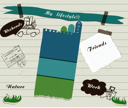 sew tags: scrapbook details set illustration Illustration