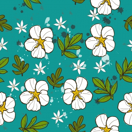 Seamless texture with white flower Vector