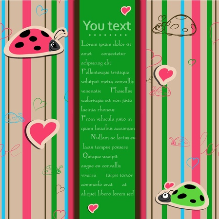 bugs shopping: Background with ladybirds in love. Illustration