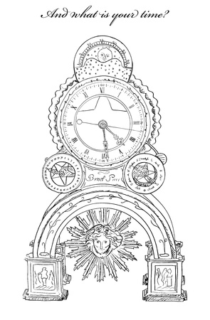Old clock with sun and moon  Vector illastration EPS10 Stock Vector - 14564100