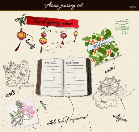 myth: Scrap booking poster with asian elements  Illustration