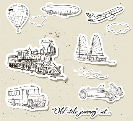 Set of vintage transport illustration  Vector