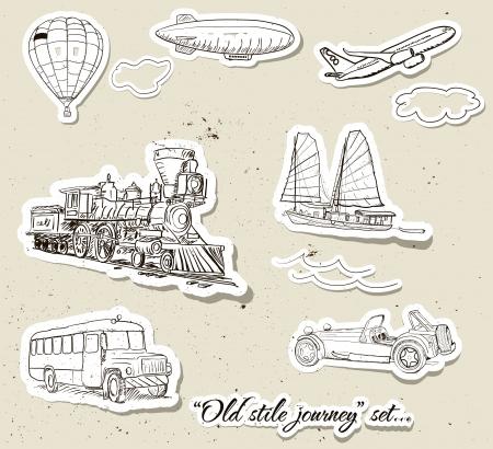 Set of vintage transport illustration