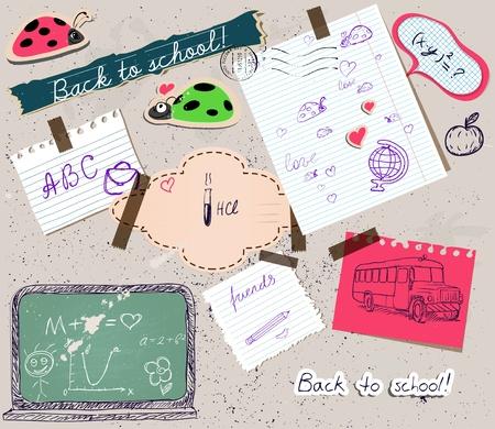 scrapbooking set with school elements.  Vector