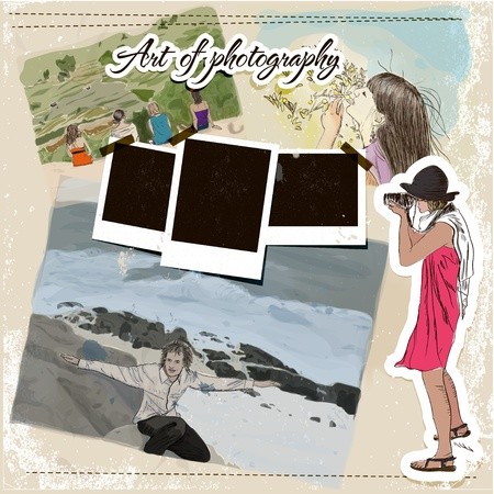 scrap booking: Scrap template with fashion Illustration