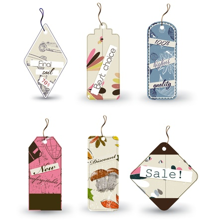 highest: Vector set of 6 tags different shapes