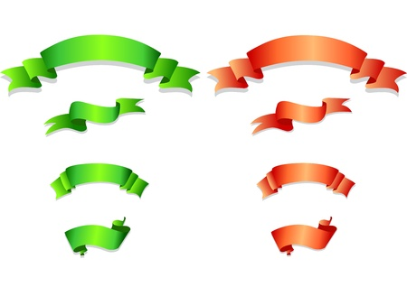 Set of green and orange ribbons  Vector