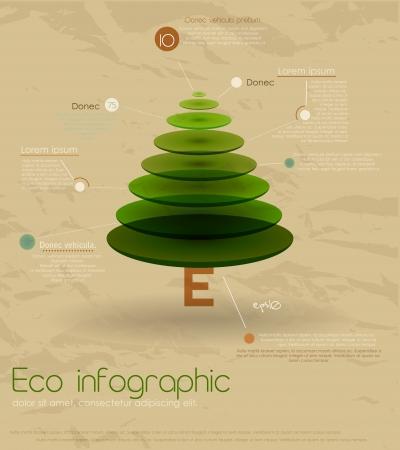 Vintage eco infographic with fir-tree  Illusztráció