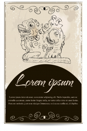 Business card template with a dragon  Illustration