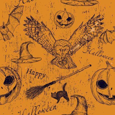 flying hat: Halloween seamless texturewith pumpkin, owl and bat2