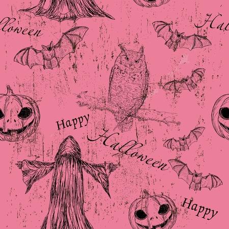 fruit bat: Halloween seamless texturewith pumpkin, owl and bat3.
