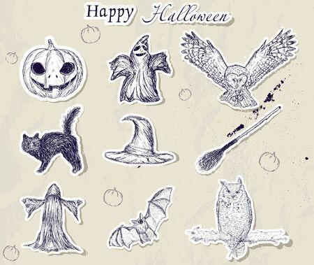 Set of Halloween stickers Stock Vector - 15328032