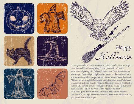 Vintage Halloween poster with pumpkin, owl, bat etc  Vector