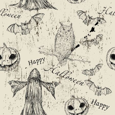 Halloween seamless texturewith pumpkin, owl and bat Vector