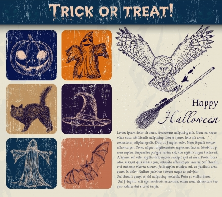Vintage Halloween poster with pumpkin, owl, bat etc   Vector