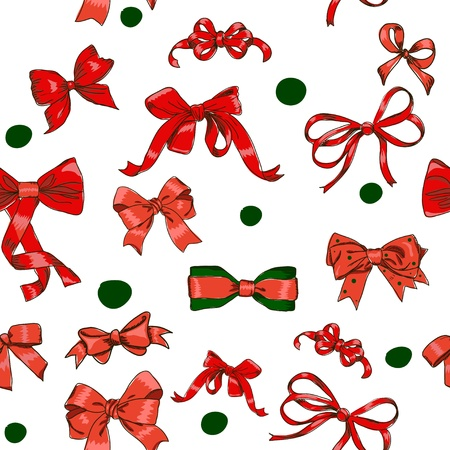 Seamless texture with Chrestmas red bows  Vector illustration eps8 Stock Vector - 15696318
