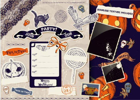 Vintage Halloween scrapbooking set  Vector illustration EPS8 Vector