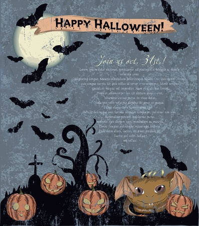 Invitation Halloween poster with cute monster  Vector illustration EPS10 Vector
