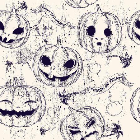drakula: Halloween seamless background with pumpkin  Vector illustration EPS8