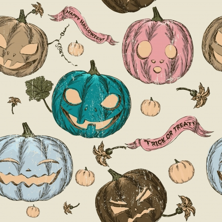 drakula: Halloween seamless background with pumpkin  Vector illustration EPS8