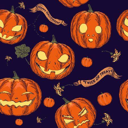 witchcraft: Halloween seamless background with pumpkin  Vector illustration EPS8
