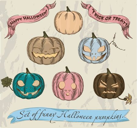 Six isolated Halloween pumpkins set  Vector illustration EPS8 Stock Vector - 15696326
