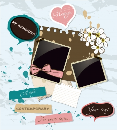 Pastel scrapbooking elements set illustration