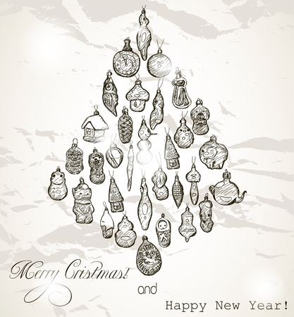 Vintage Christmas card with snowflakes Stock Vector - 16115005