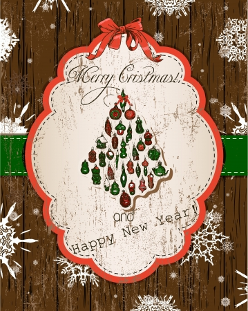 Vintage Christmas card, red and green  Vector