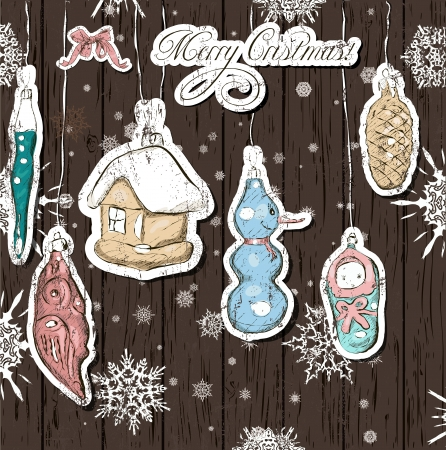 Poster with vintage Christmas decorations Stock Vector - 16606541