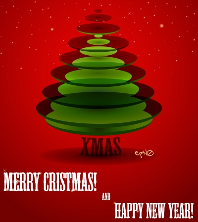 Poster with abstract X-mas tree  Vector illustration  Vector