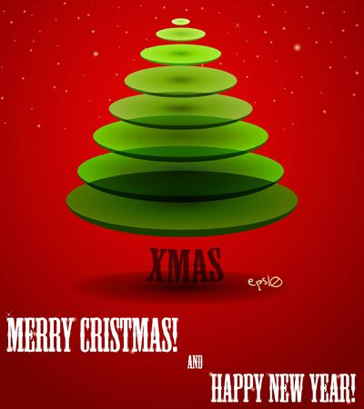 x mas background: Poster with abstract X-mas tree  Vector illustration