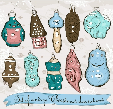 Set of real vintage Christmas decorations 1  Vector illustration Stock Vector - 16849635