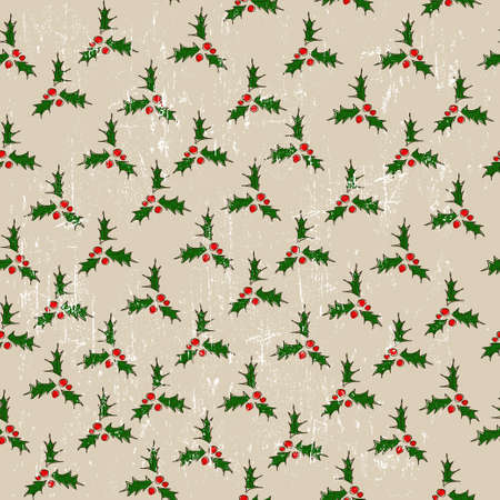Seamless texture with mistletoe  Vector illustration  Vector