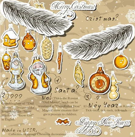 Poster with vintage Christmas decorations   Vector illustration  Stock Vector - 16849636