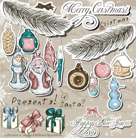 Poster with vintage Christmas decorations   Vector illustration Vector