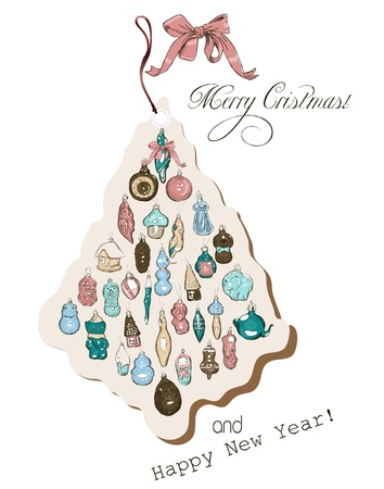 Vintage Christmas card pastel colors  Vector illustration  Vector