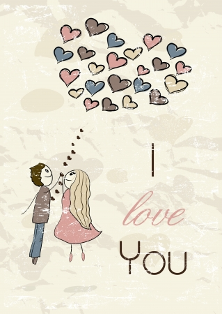 Vintage romantic card Vector
