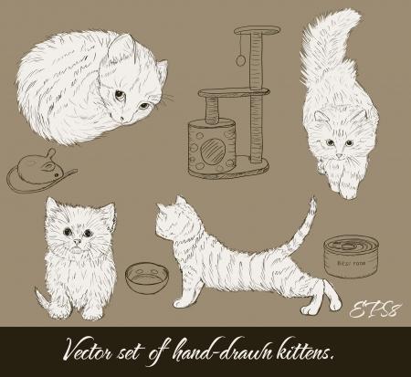 Vintage set with cute kittens Illusztráció
