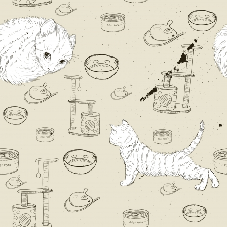 tabby cat: Seamless texture with kittens Illustration