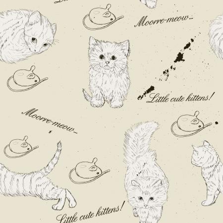 hair texture: Seamless texture with kittens Illustration