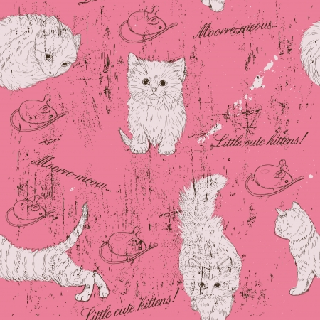 cat toy: Vintage seamless texture with kittens