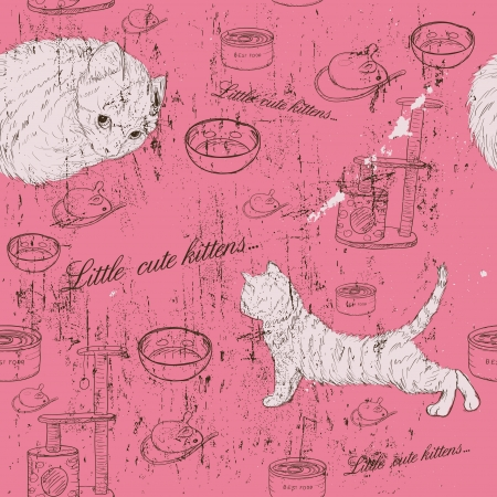 Vintage seamless texture with kittens Stock Vector - 17589766