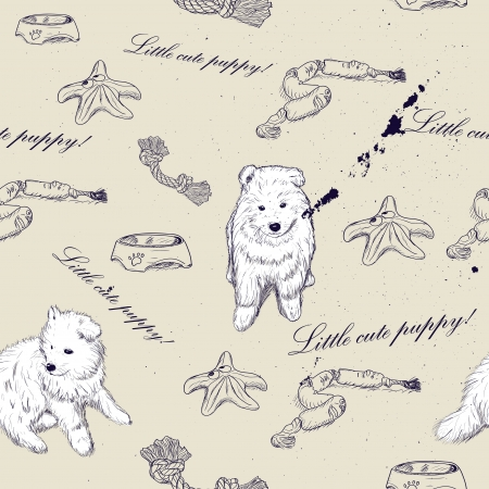 samoyed: Seamless texture with cute puppies