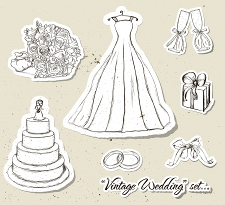 top hat cartoon: Vintage wedding set   illustration