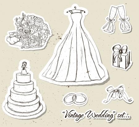 Vintage wedding set   illustration