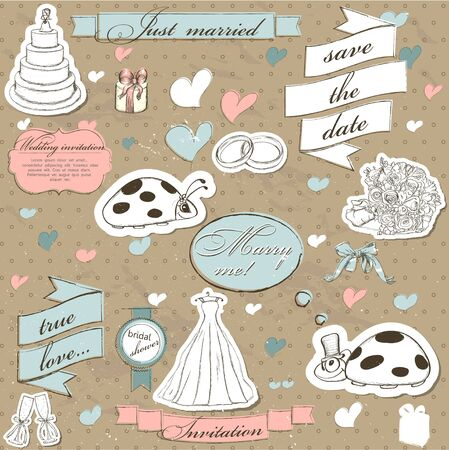 love icon: Vintage wedding set. Vector illustration EPS10