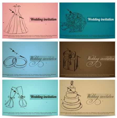 wedding cake: Vintage wedding invitation cards set   illustration