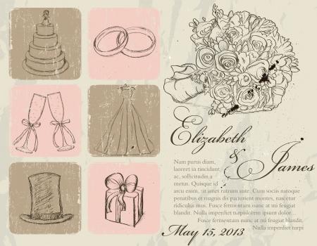 anillo de boda: Boda del ejemplo del vintage poster Vectores
