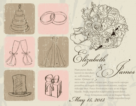 vintage clothing: Vintage wedding poster   illustration